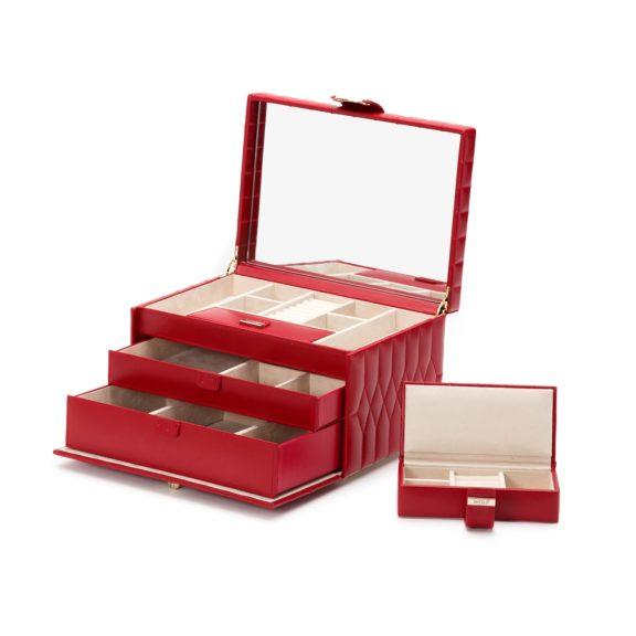 Schmuckaufbewahrungsbox aus Leder in rot