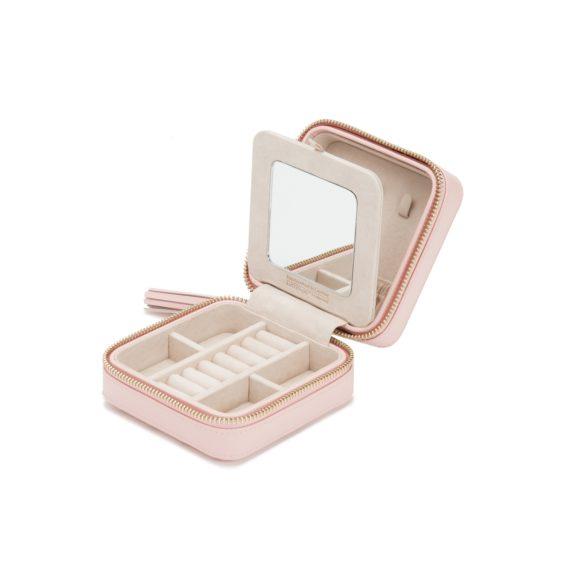 Schmuckaufbewahrungsbox für die Reise aus Leder in rosa