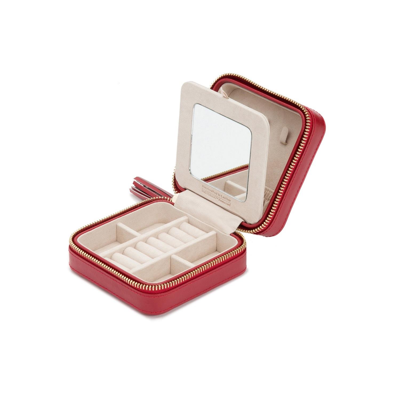 Schmuckaufbewahrungsbox für die Reise aus Leder in rot