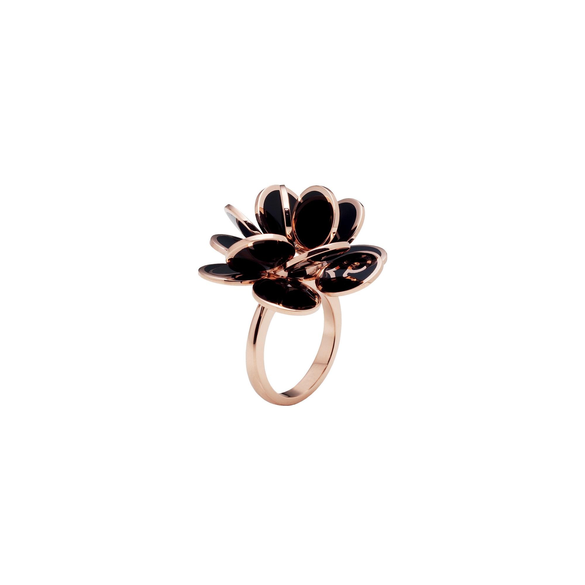 Chantecler Paillettes Ring aus Roségold mit schwarzem Emaille