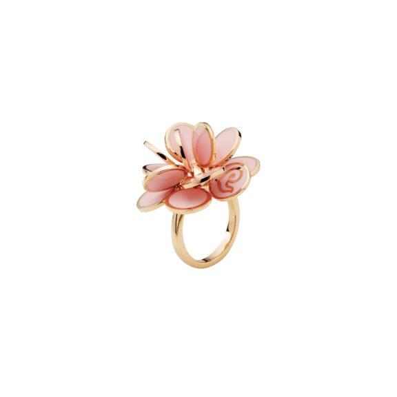Chantecler Paillettes Ring aus Roségold mit rosa Emaille