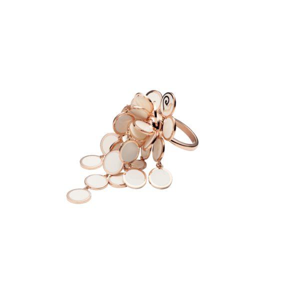 Chantecler Paillettes Ring aus Roségold mit weißem Emaille