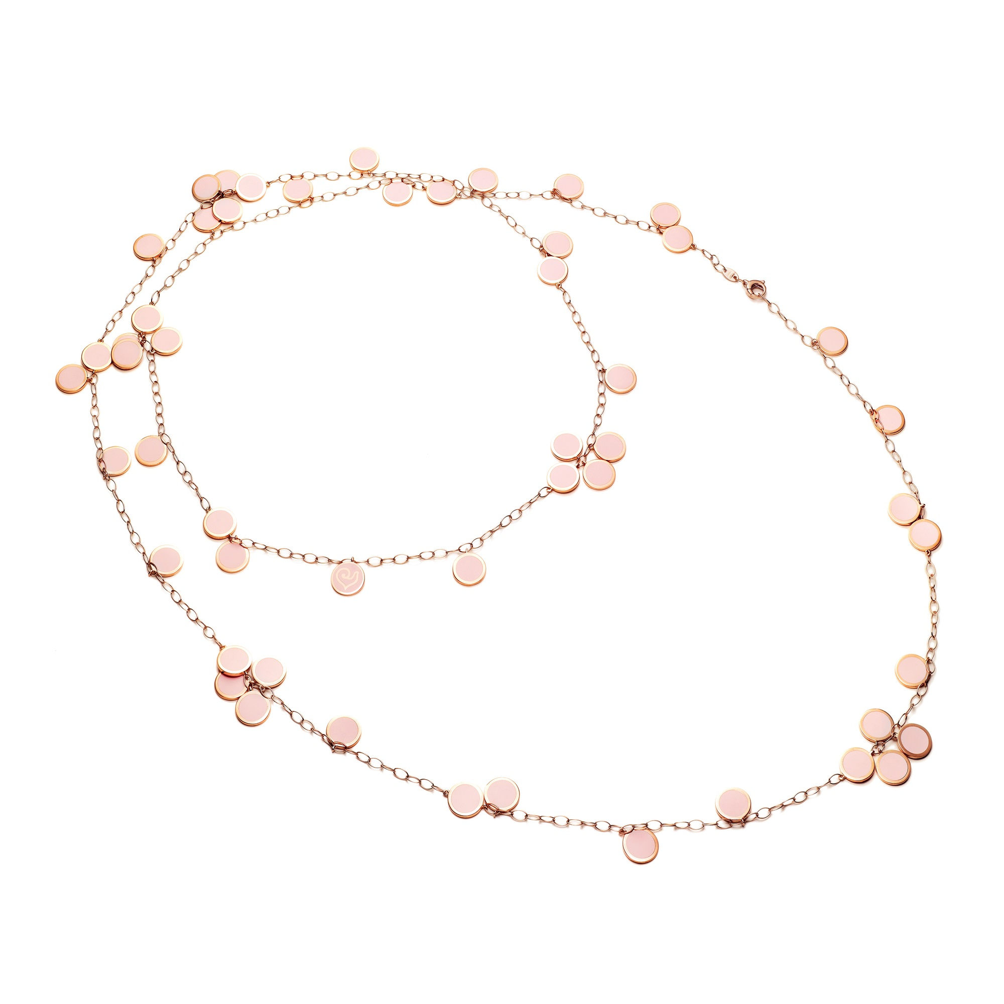 Chantecler Paillettes Collier aus Roségold mit rosa Emaille