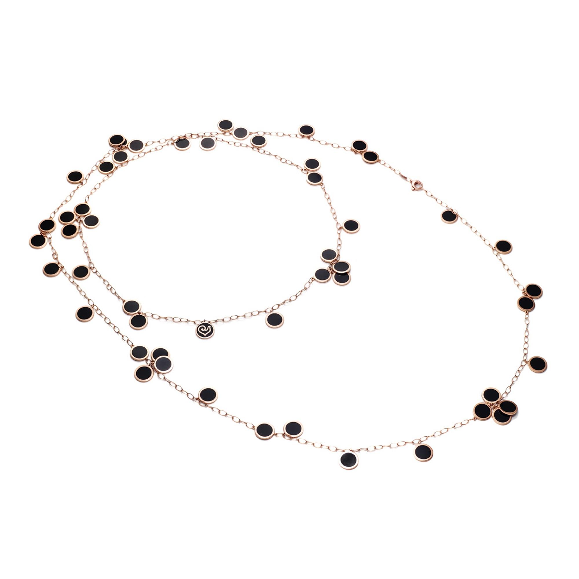 Chantecler Paillettes Collier aus Roségold mit schwarzem Emaille