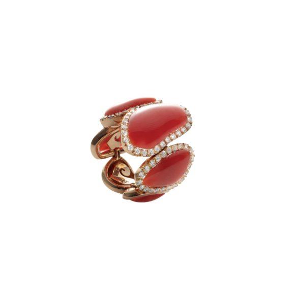Chantecler Enchanté Ring aus Roségold mit Koralle und Brillanten