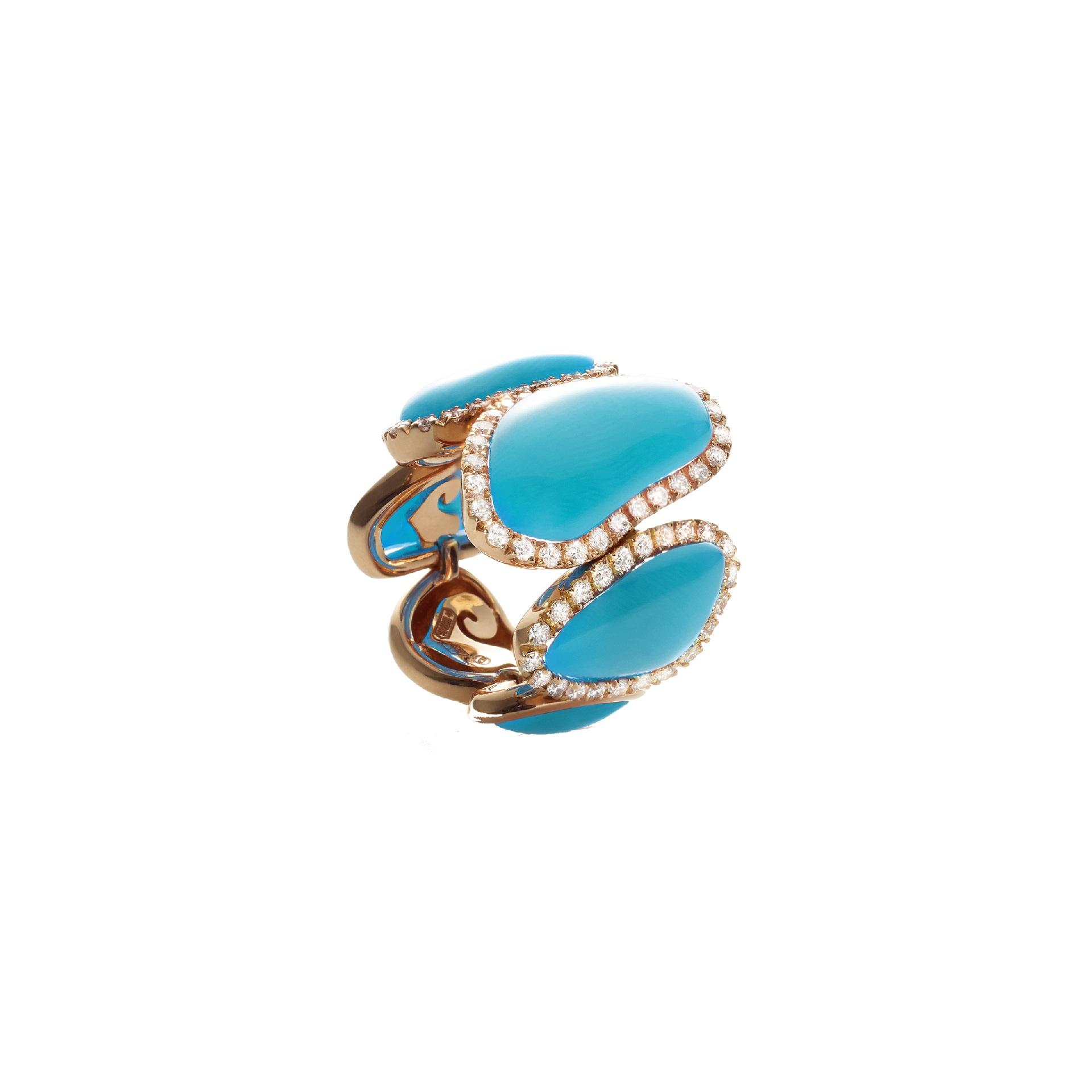 Chantecler Enchanté Ring aus Roségold mit Türkis und Brillanten