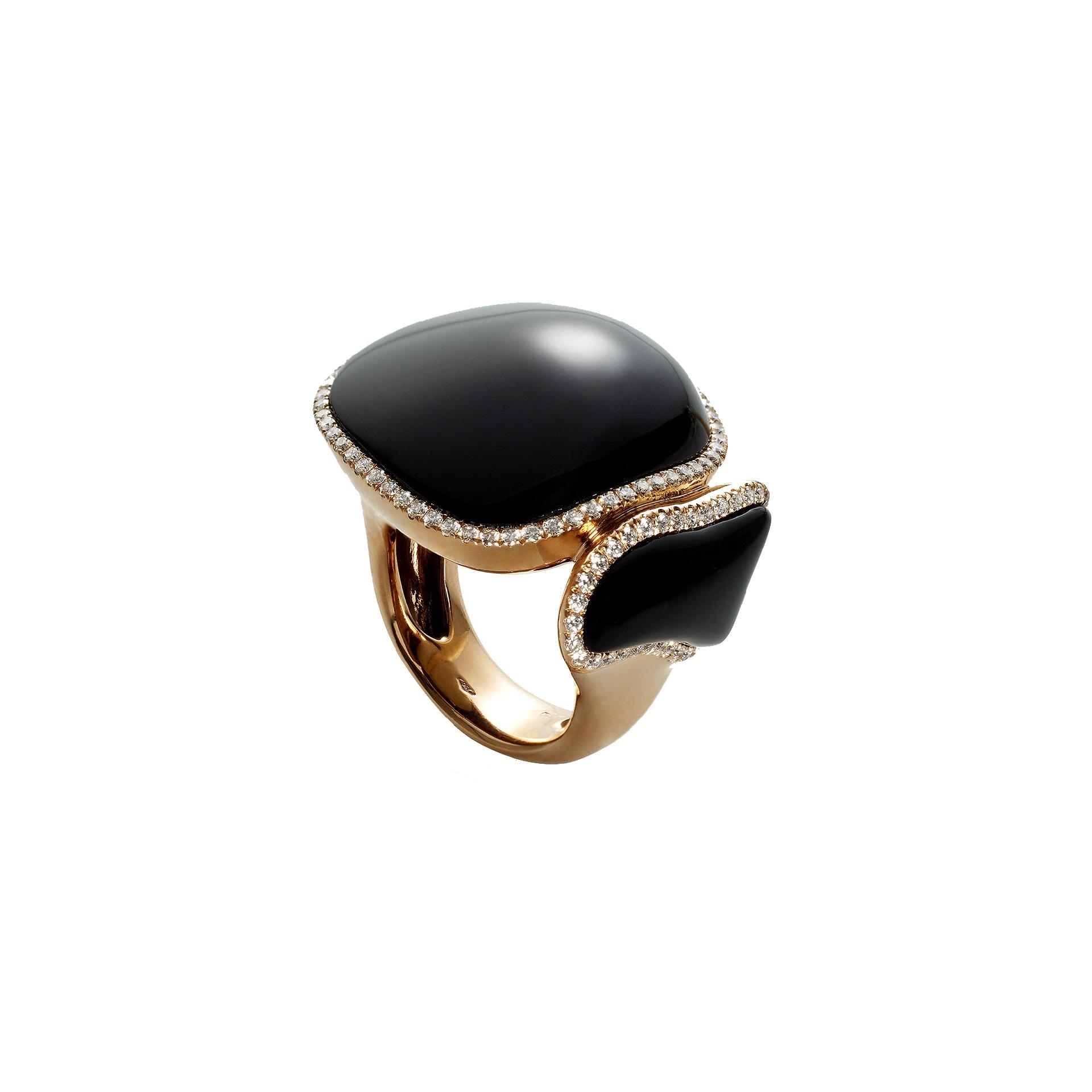 Chantecler Enchanté Ring aus Roségold mit Onyx und Brillanten