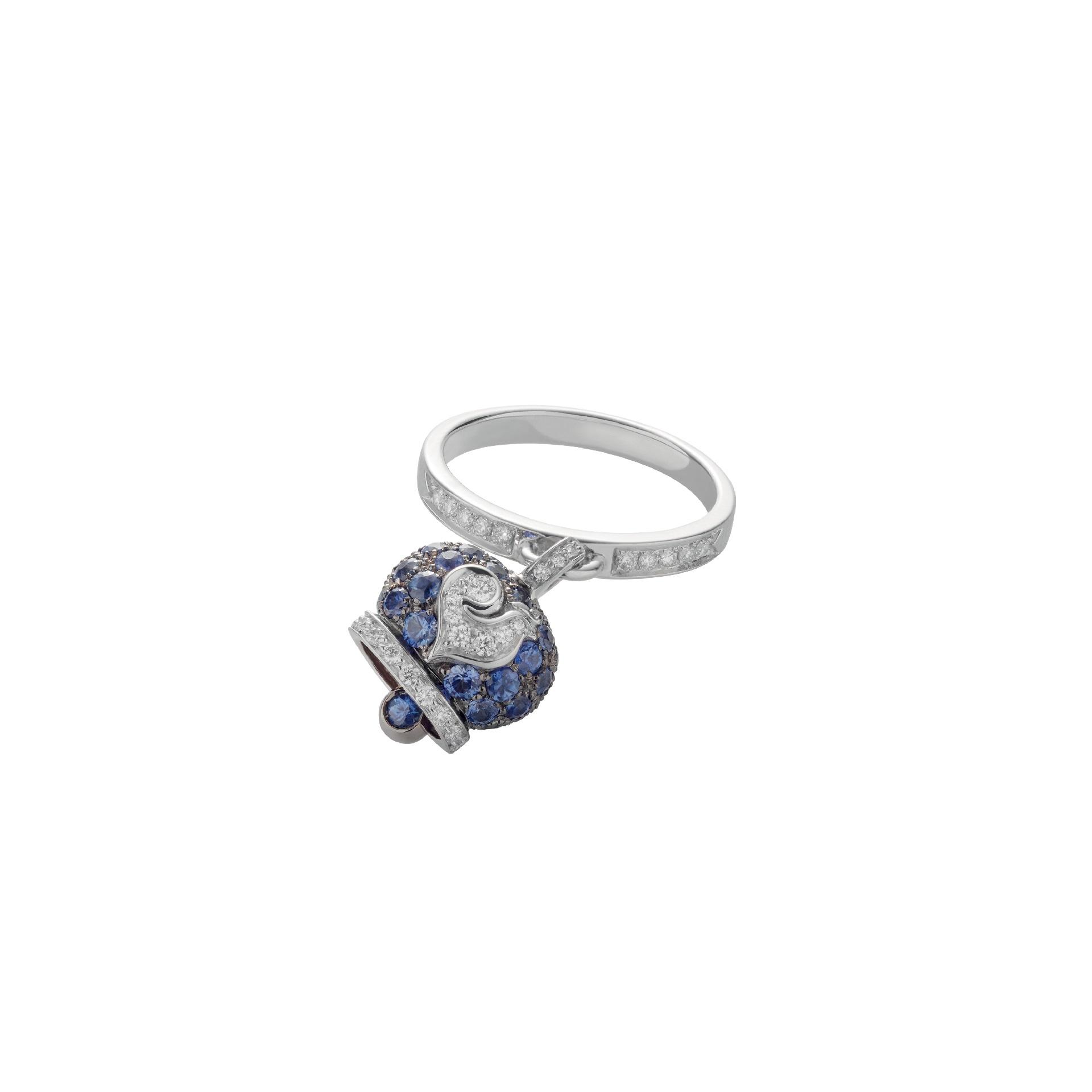 Chantecler Campanelle Ring aus Rosé- und Weißgold mit Brillanten und Saphiren