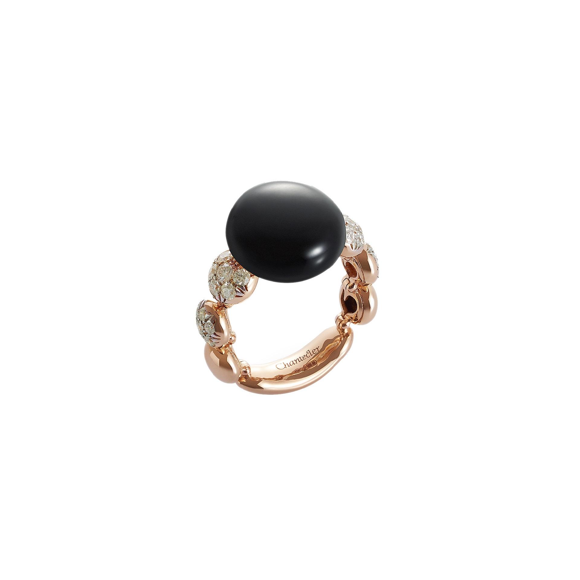 Chantecler Bon Bon Ring aus Roségold mit Onyx und Brillanten