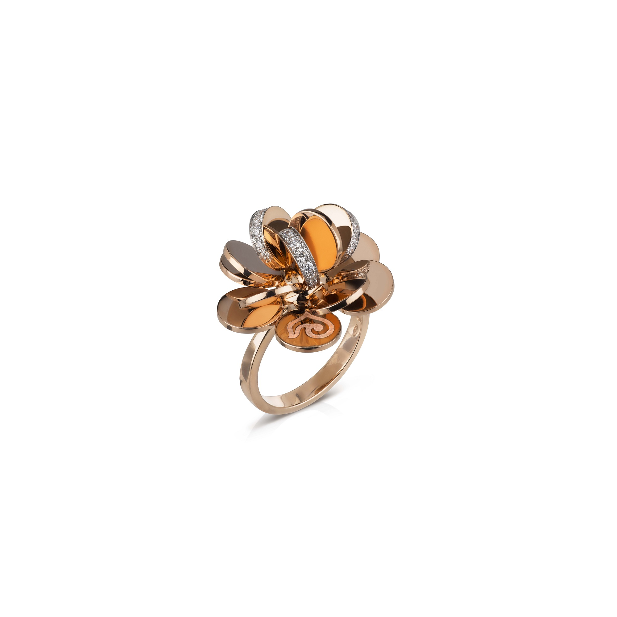 Chantecler Paillettes Ring aus Roségold mit Brillaten