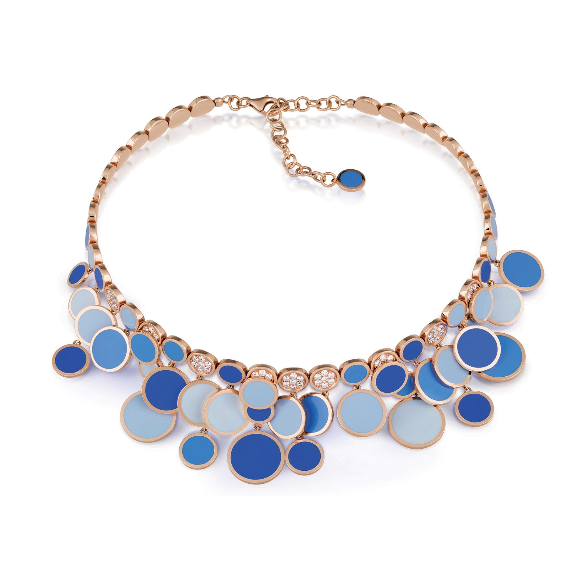 Chantecler Paillettes Collier aus Roségold mit blauem Emaille und Brillanten