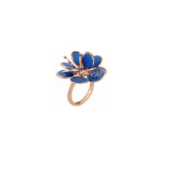 Chantecler Paillettes Ring aus Roségold mit blauem Emaille
