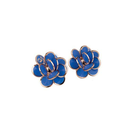 Chantecler Paillettes Ohrschmuck aus Roségold mit blauem Emaille