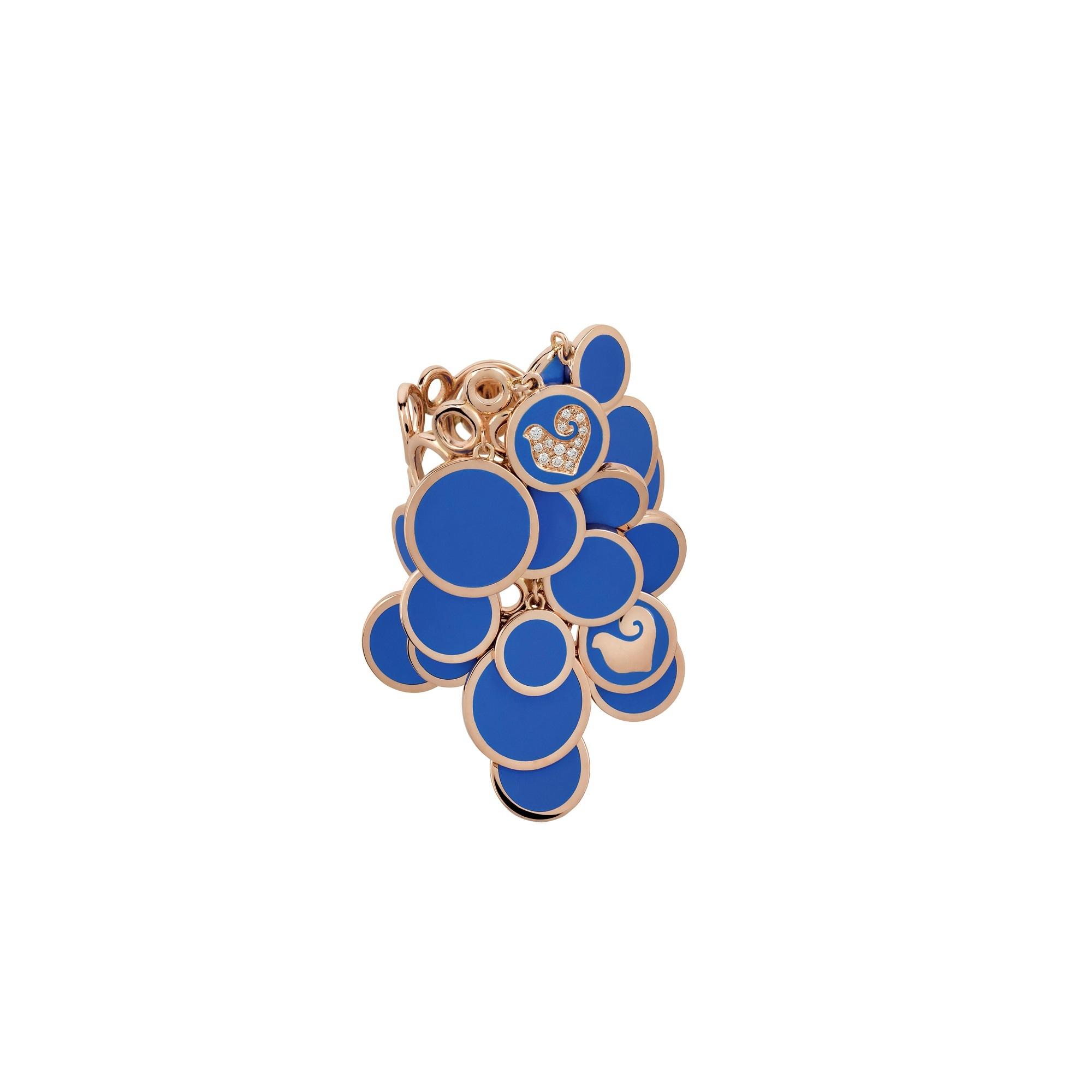 Chantecler Paillettes Ring aus Roségold mit blauem Emaille und Brillaten