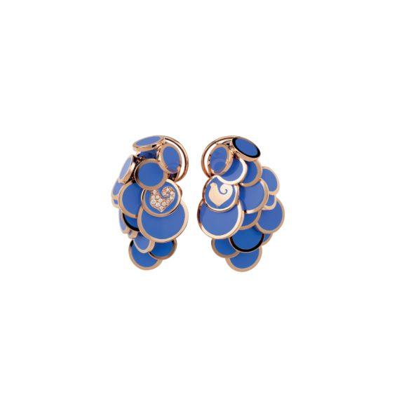 Chantecler Paillettes Ohrschmuck aus Roségold mit blauem Emaille und Brillanten
