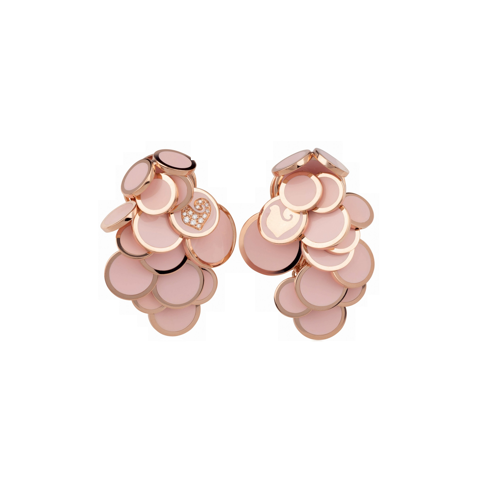 Chantecler Paillettes Ohrschmuck aus Roségold mit rosa Emaille und Brillanten