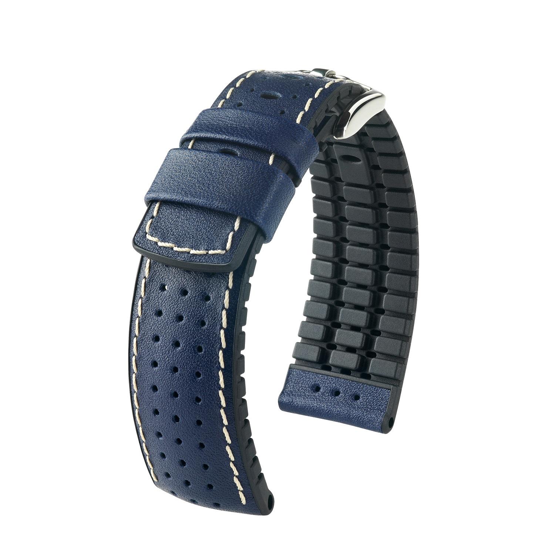 blaues Uhrband aus Leder und Kautschuk