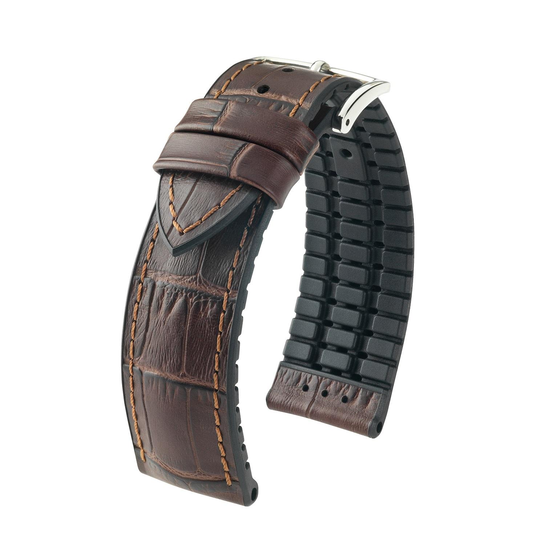 braunes Uhrband aus Leder und Kautschuk