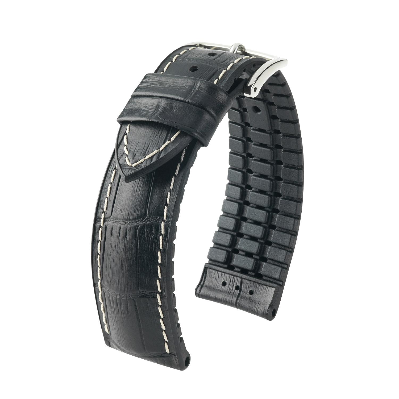 schwarzes Uhrband aus Leder und Kautschuk