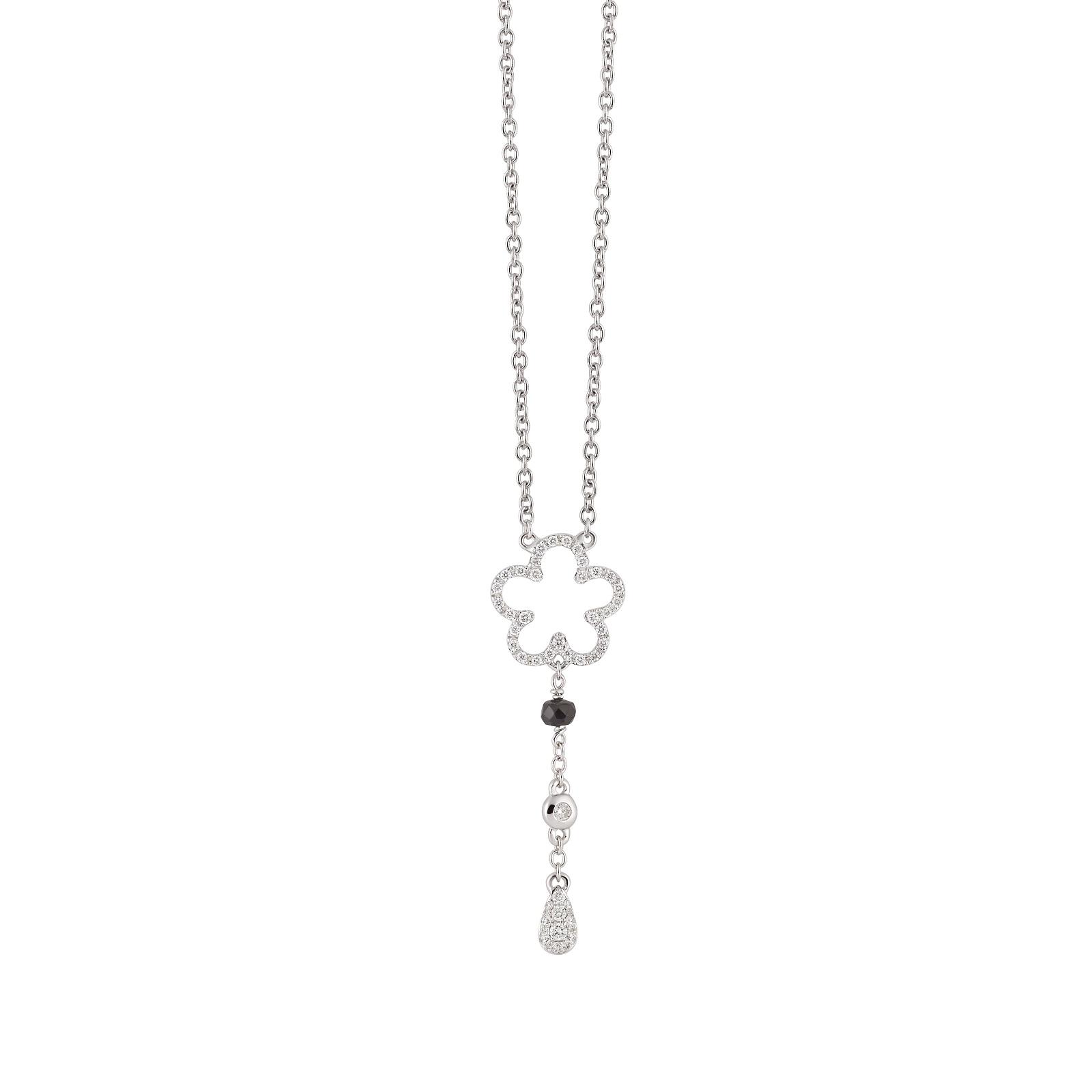 Collier Goccia aus Weißgold mit Diamanten und Saphir