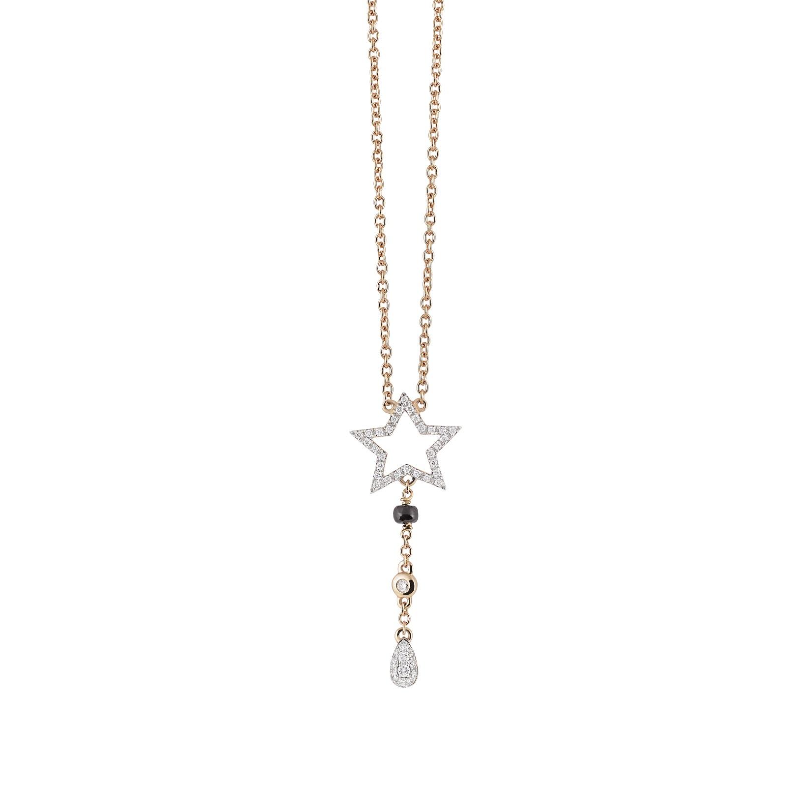 Collier Goccia aus Roségold mit Diamanten und Saphir