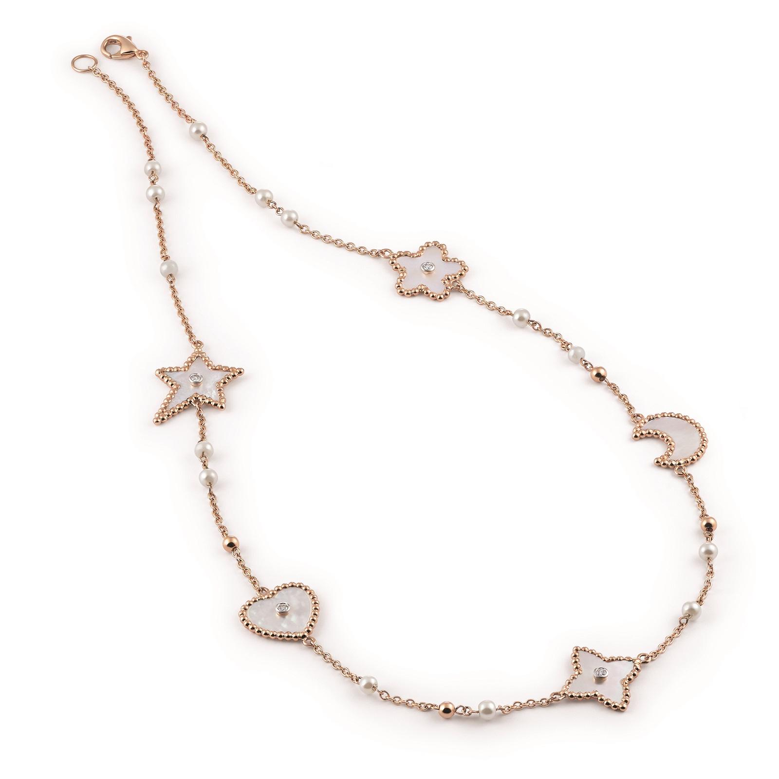 Collier Palladio aus Roségold mit Diamanten und Perlmutt