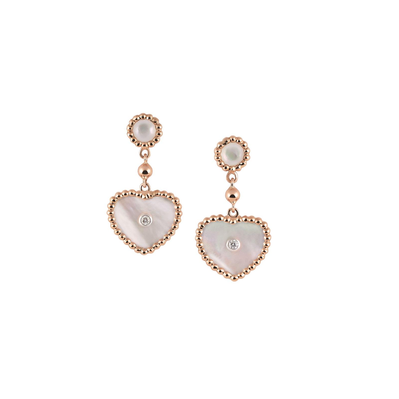 Ohrschmuck Palladio aus Roségold mit Diamanten und Perlmutt