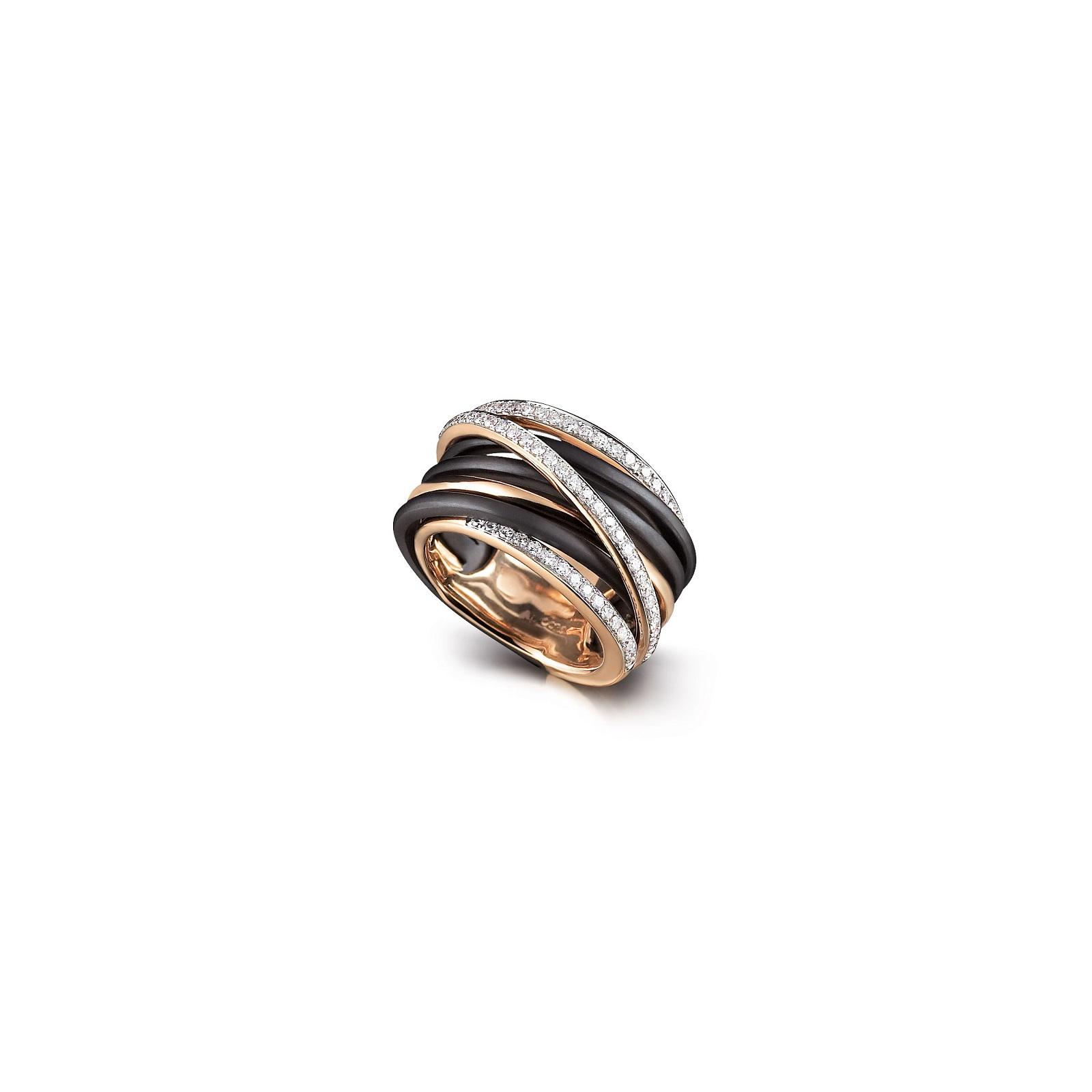 Ring Serenata aus Roségold und Edelstahl mit Diamanten