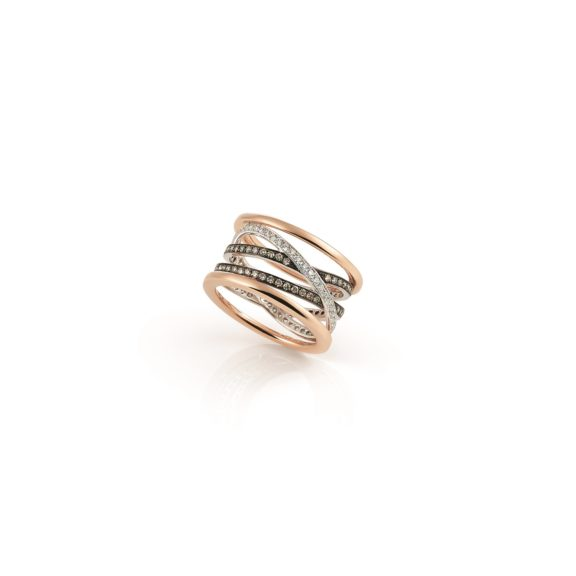 Ring Serenata aus Roségold mit weißen und braunen Diamanten