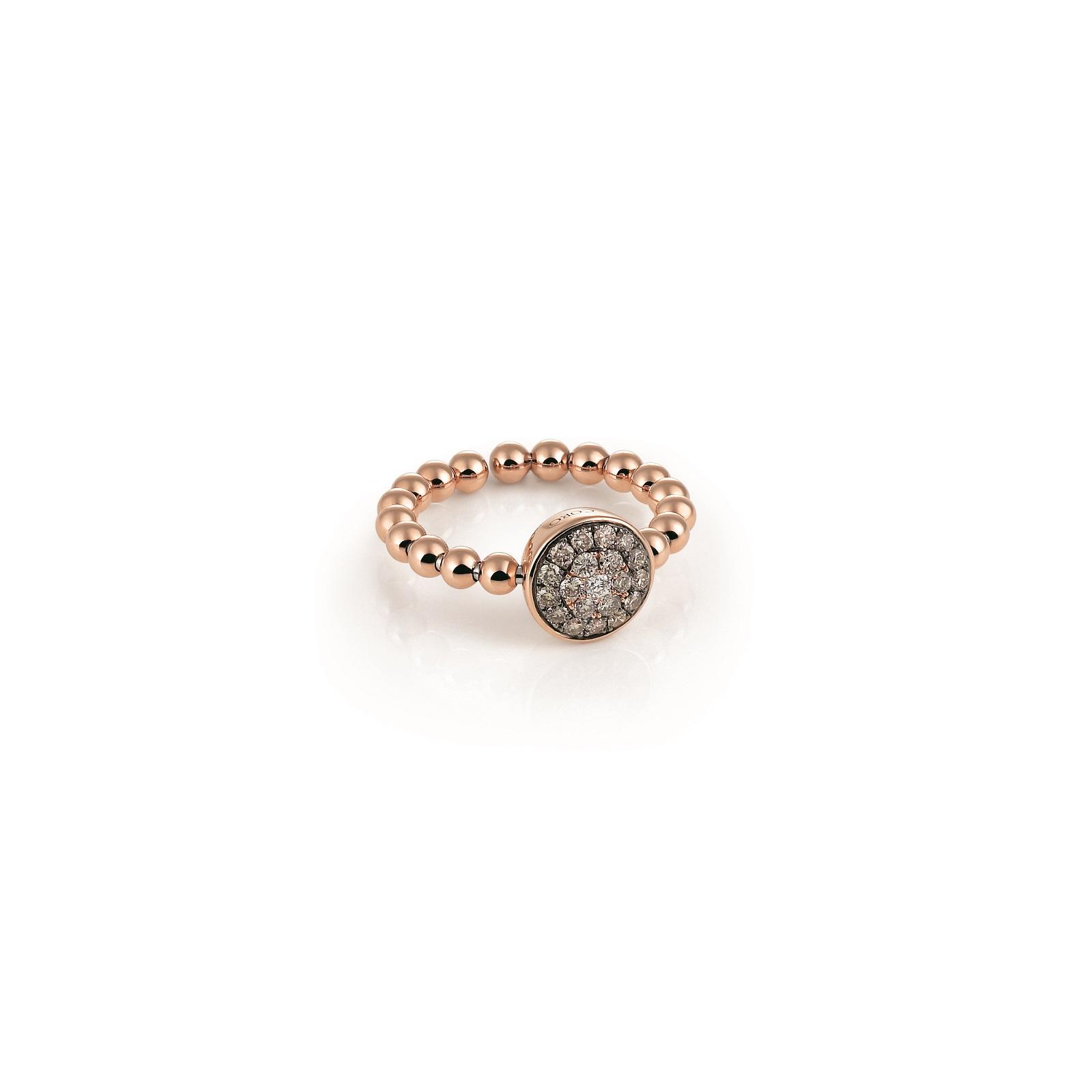 Ring Palladio aus Roségold mit braunen Diamanten