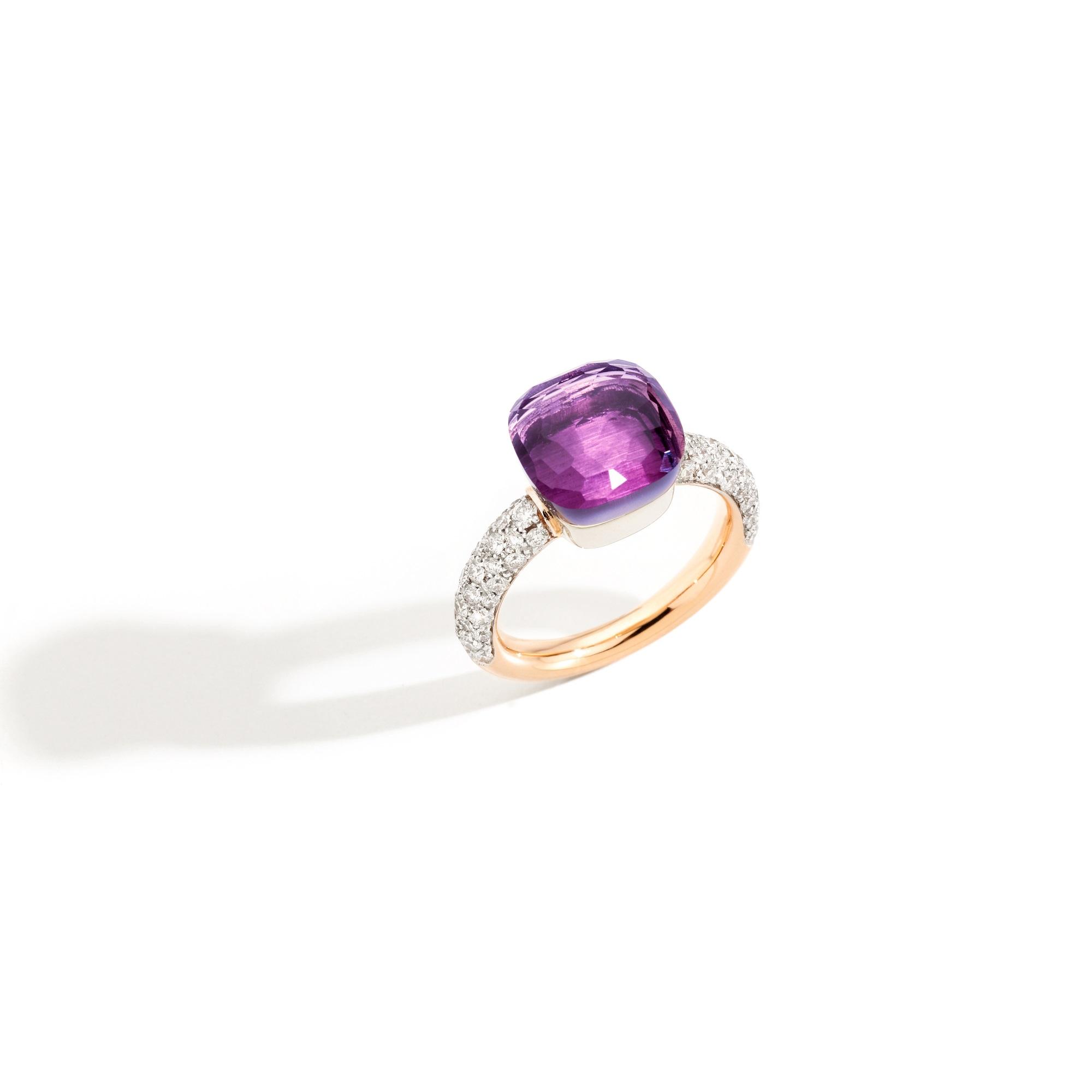 Pomellato Nudo Ring aus Rosé- und Weißgold mit Amethyst und Diamanten