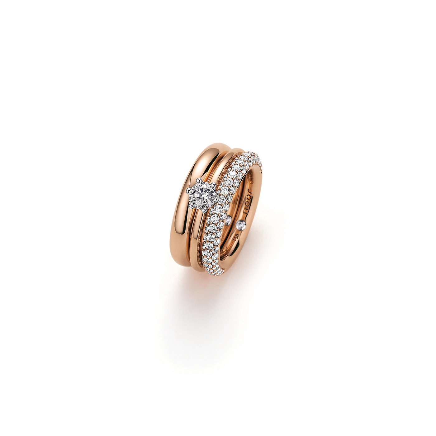 Ring aus Roségold mit Diamanten