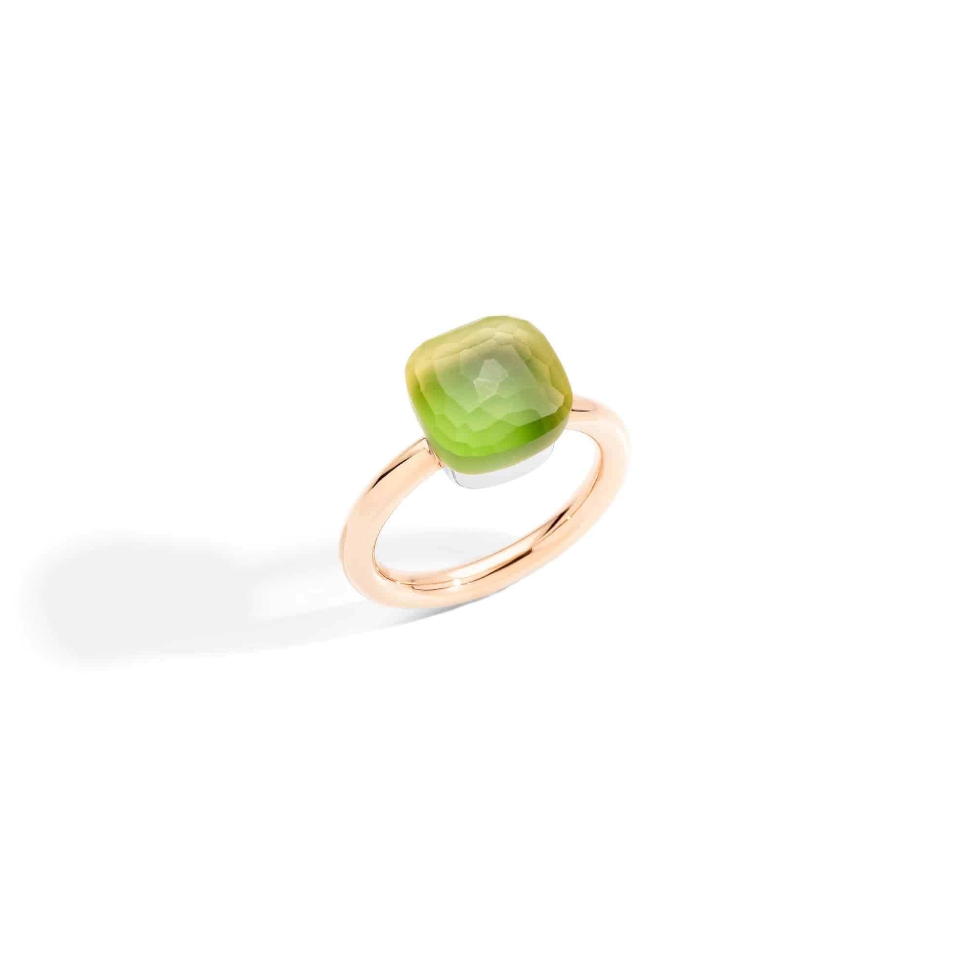 Pomellato Nudo Ring aus Roségold mit Zitronenquarz und Chrysopras