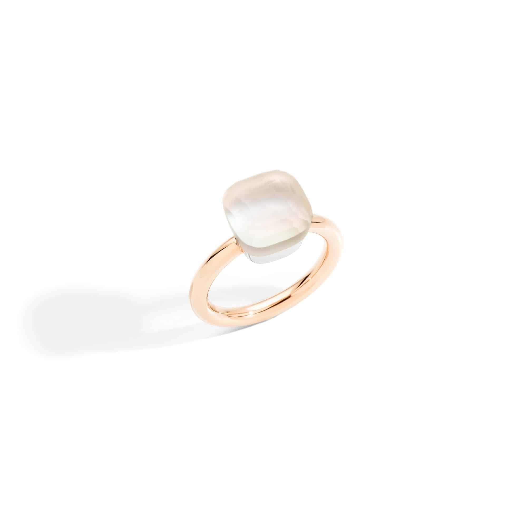 Pomellato Nudo Ring aus Roségold mit weißem Topas und Perlmutt