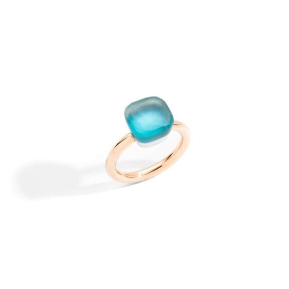 Pomellato Nudo Ring aus Roségold mit blauem Topas, Perlmutt und Türkis