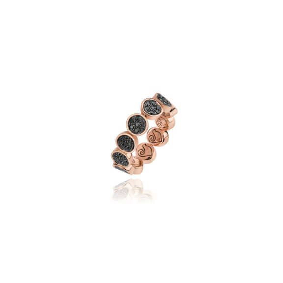 Chantecler Paillettes Ring aus Roségold mit schwarzen Diamanten