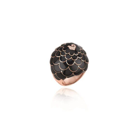Chantecler Paillettes Ring aus Roségold mit Brillanten und Emaille
