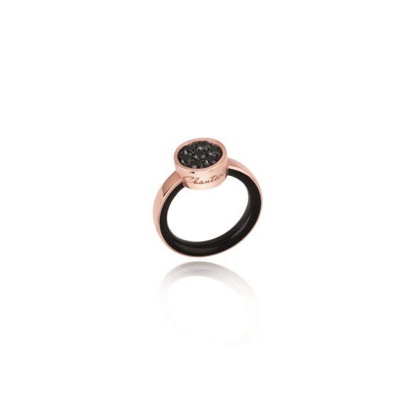 Chantecler Paillettes Ring aus Roségold mit schwarzen Diamanten und Emaille