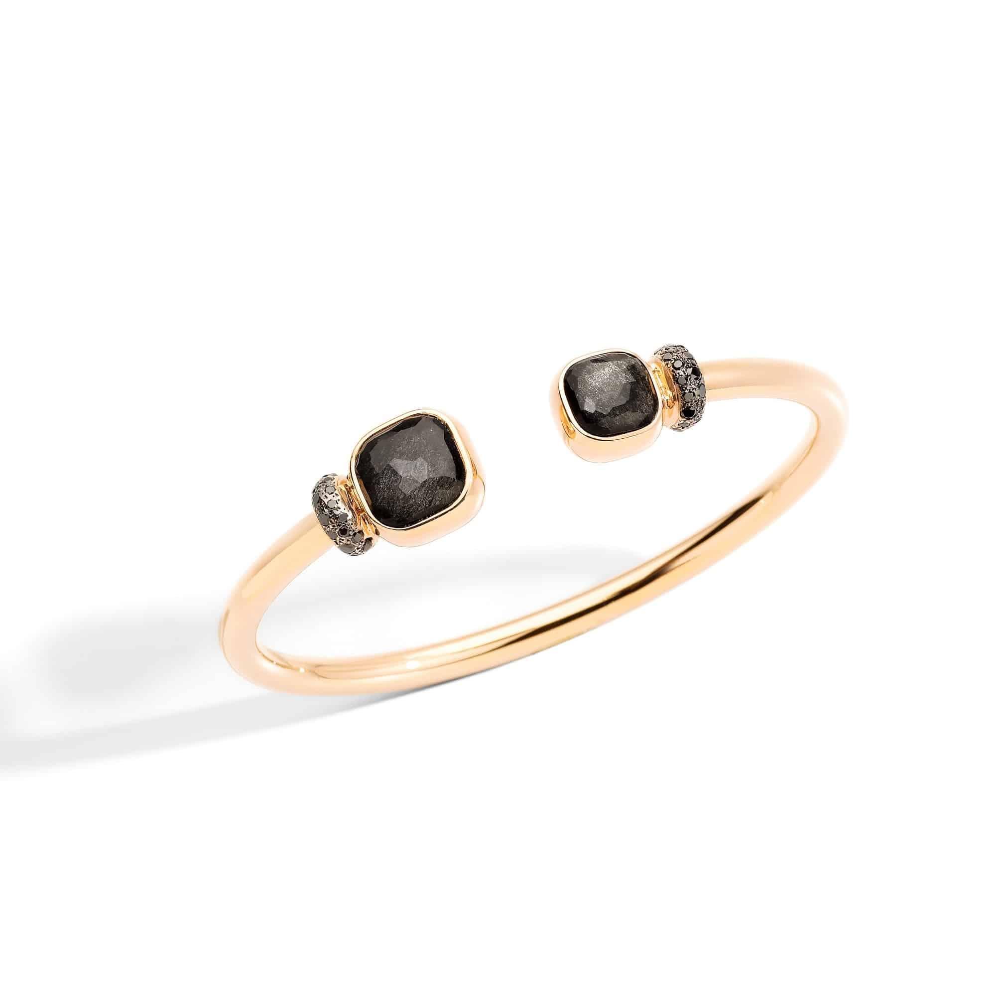 Pomellato Nudo Armreif aus Roségold mit Obsidian und schwarzen Diamanten